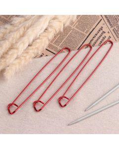Вспомогательная булавка для вязания, 17 см, цвет красный