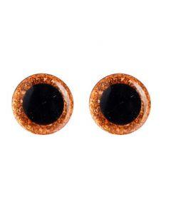 Глаза винтовые с блёстками, 1,4 см, коричневый