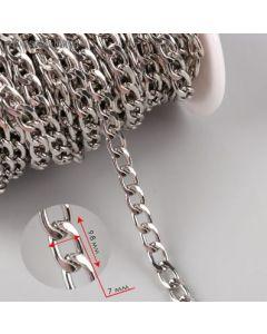 Цепочка для сумки, 7 × 9,8 мм, серебро